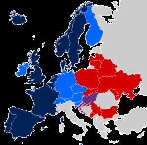 2014 Haziran itibariyle: Lacivert: Eşcinsel evlilik Mavi: Diğer tip yasal birliktelik Gri: Tanınmamış durumda Kırmızı: Anayasal yasak Kaynak: Wikipedia